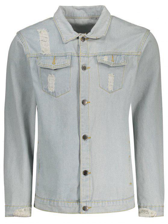 Jaqueta de denim afligida para homens - Jeans Azul L