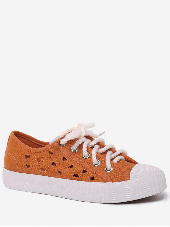 best Canvas Breathabe Hollow Out Athletic Shoes - ORANGE 39