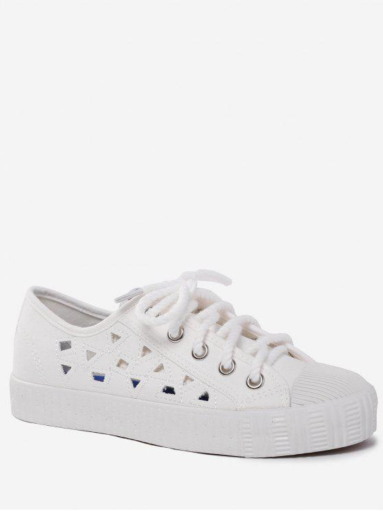 Canvas Breathabe Hollow Out Athletic Shoes - Branco 38