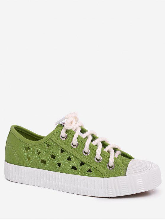 Canvas Breathabe Hollow Out Athletic Shoes - Verde 38