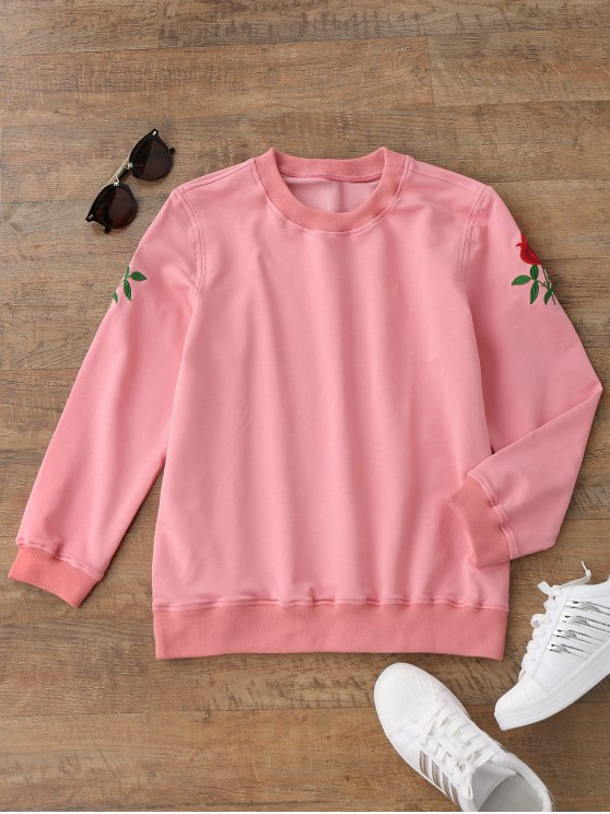 shop Casual Floral Embroidered Pullover Sweatshirt - PINK L