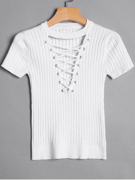 27% OFF  2019 Ribbed Knit Lace Up Top In WHITE M  b57196256