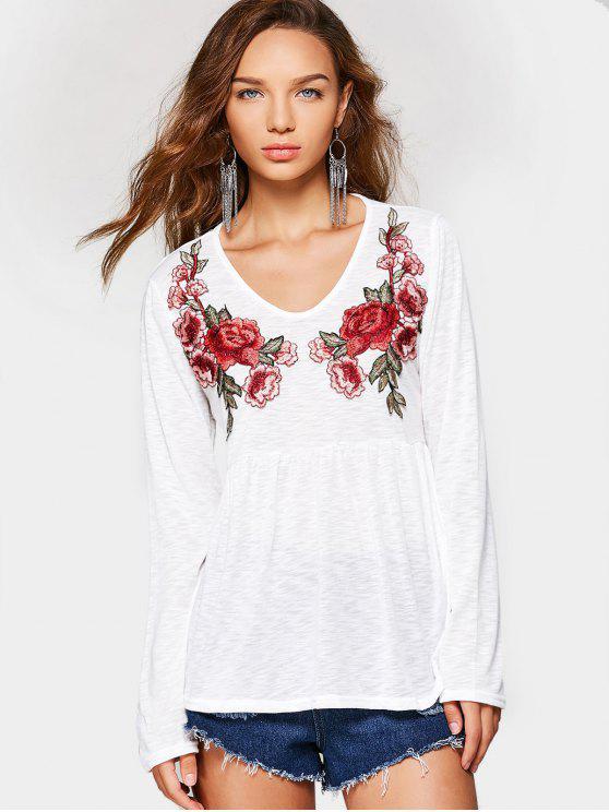 بلوزة بأكمام طويلة مزينة بأزهار - أبيض M