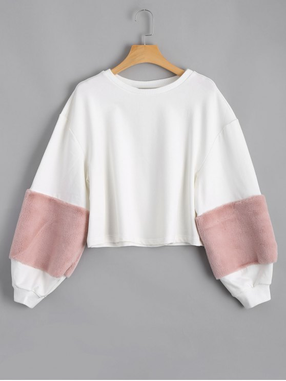 shops Lantern Sleeve Fuzzy Patches Sweatshirt - WHITE S