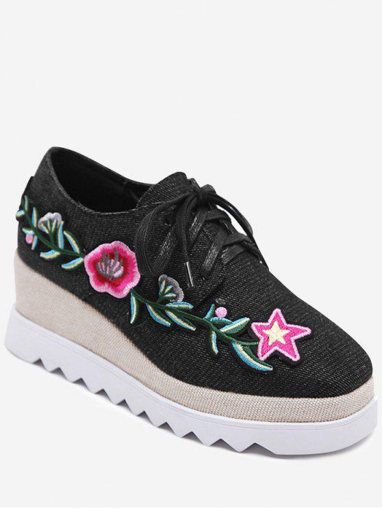 women's Denim Tie Up Embroidered Wedge Shoes - BLACK 39