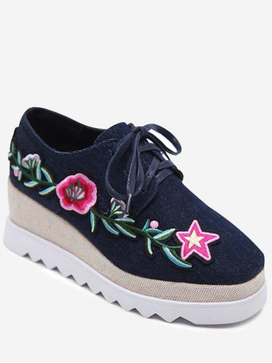 hot Denim Tie Up Embroidered Wedge Shoes - DEEP BLUE 38