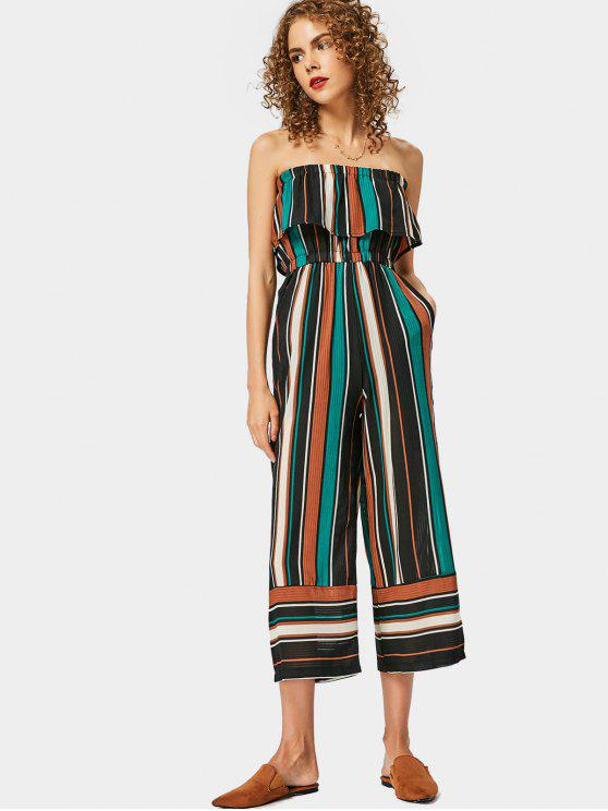 quite nice exclusive range many choices of Strapless Flounce Hem Striped Jumpsuit DEEP BLUE GREEN