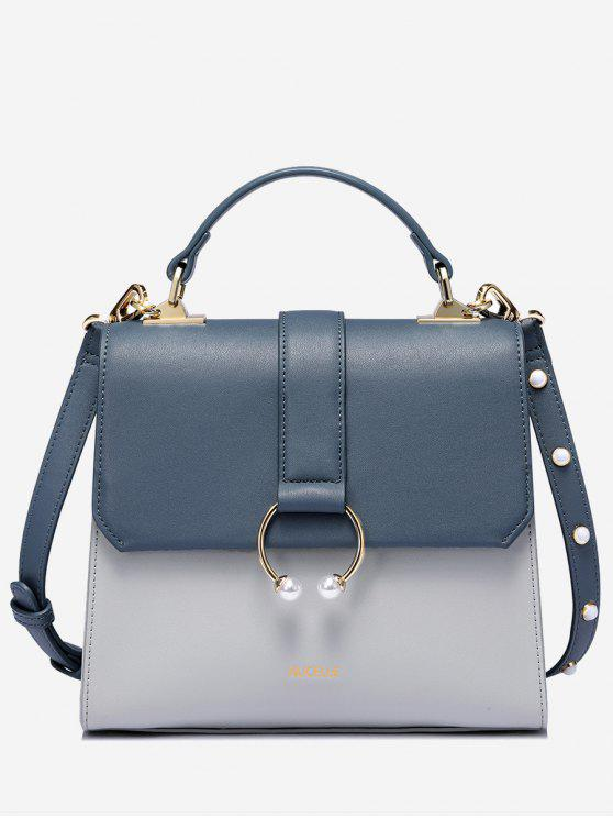 Bolso de cuero de la PU del anillo del metal de las perlas del Faux - Azul Acero