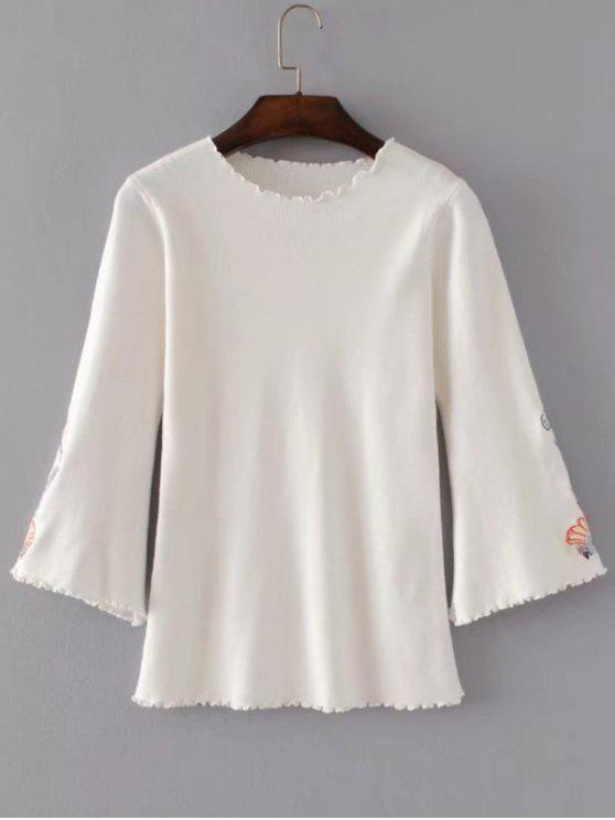 affordable Ruffles Flare Sleeve Floral Embroidered Knitwear - WHITE ONE SIZE