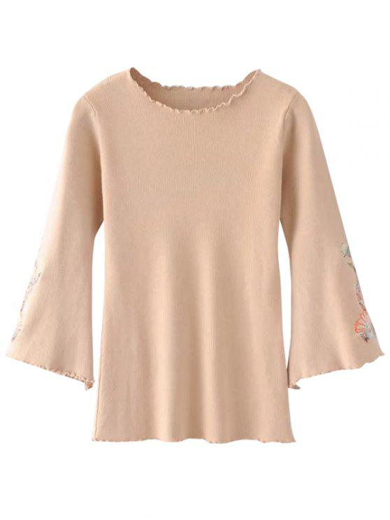 ladies Ruffles Flare Sleeve Floral Embroidered Knitwear - APRICOT ONE SIZE