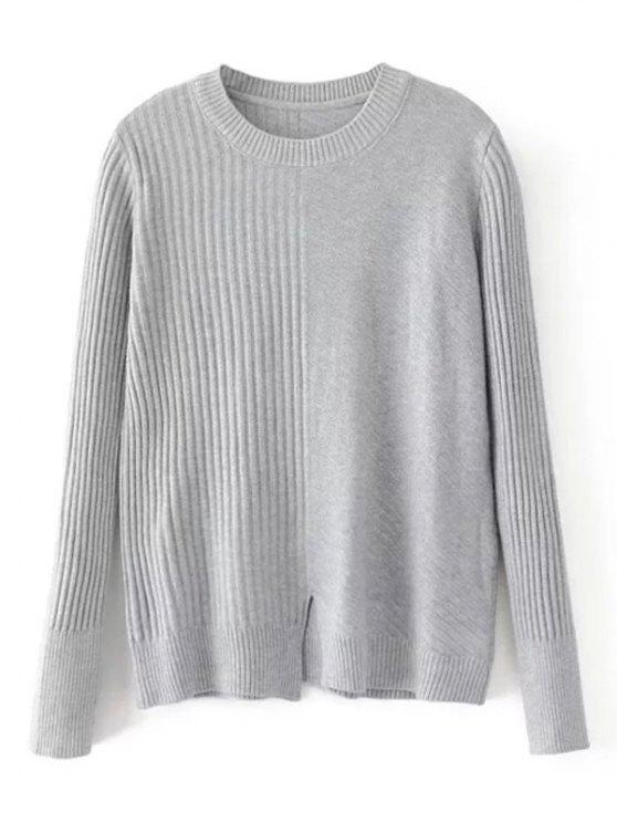lady Loose Front Slit Crew Neck Sweater - GRAY ONE SIZE