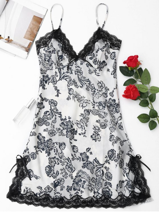Laced Floral Satin Babydoll - White M
