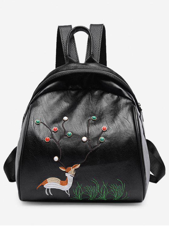 fashion Animal Pattern Beads Embroidery Backpack - BLACK