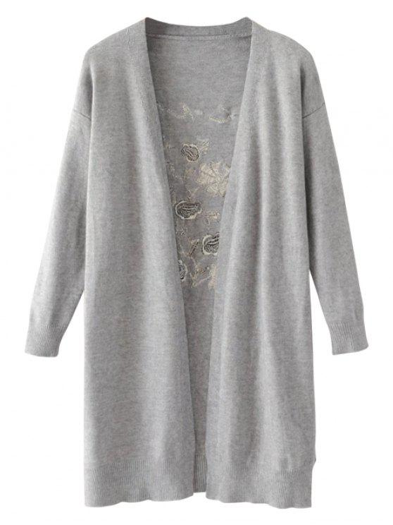 sale Long Open Front Embroidered Cardigan - GRAY ONE SIZE