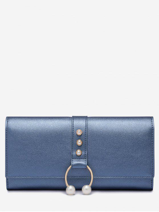 affordable Faux Pearls PU Leather Metal Ring Wallet - BLUE