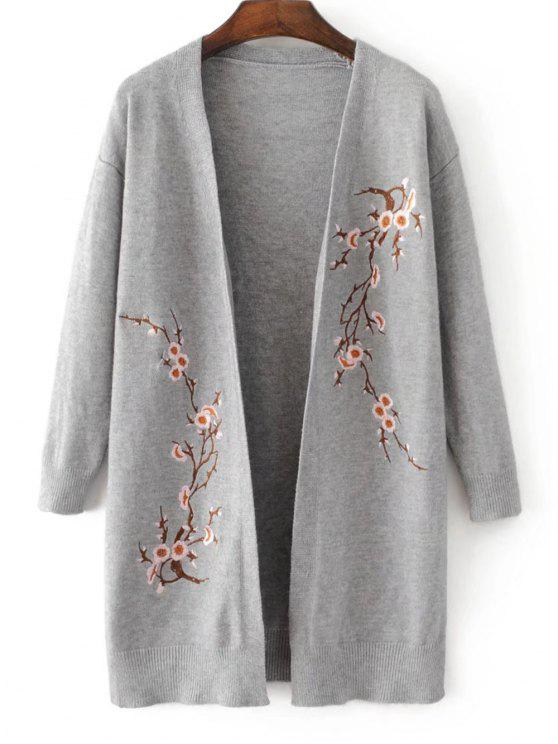 ladies Long Open Front Floral Embroidered Cardigan - GRAY ONE SIZE