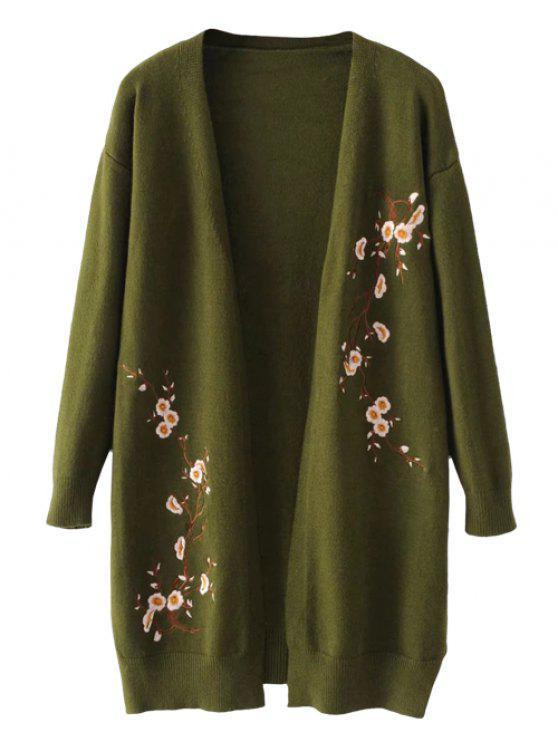 best Long Open Front Floral Embroidered Cardigan - ARMY GREEN ONE SIZE