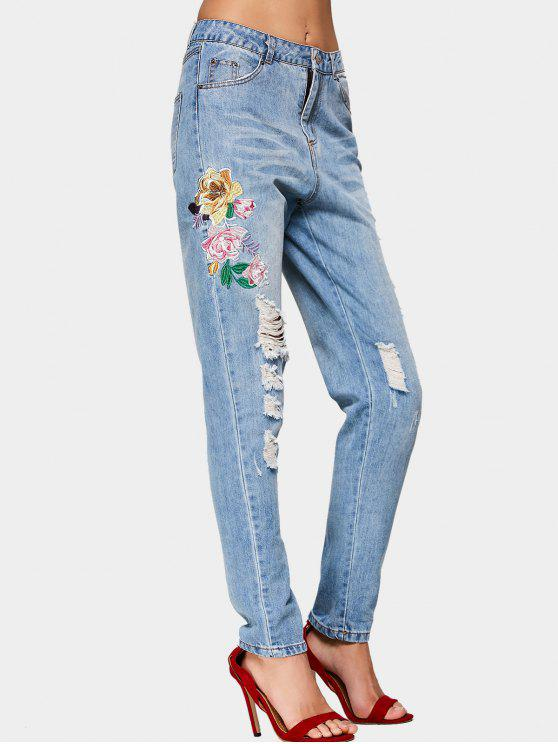 unique Destroyed Floral Embroidered Pencil Jeans - DENIM BLUE M