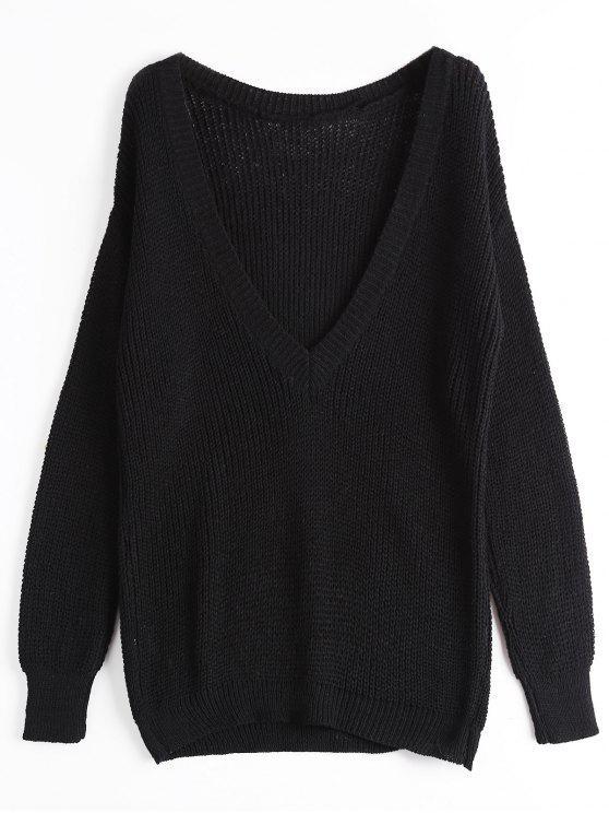 Loose Chunky V-Ausschnitt Pullover - Schwarz Eine Größe