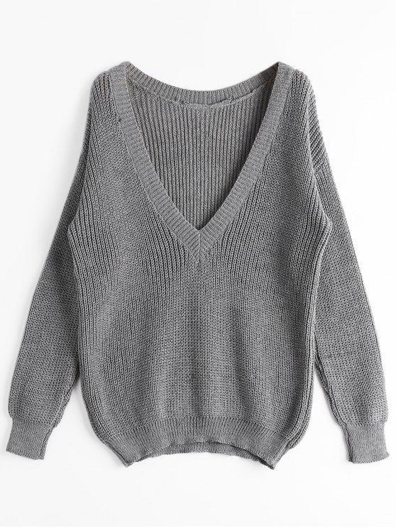 Suéter con cuello en V grueso y suelto - Gris Única Talla