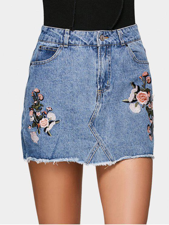 shop Floral Embroidered Denim A Line Skirt - DENIM BLUE 38