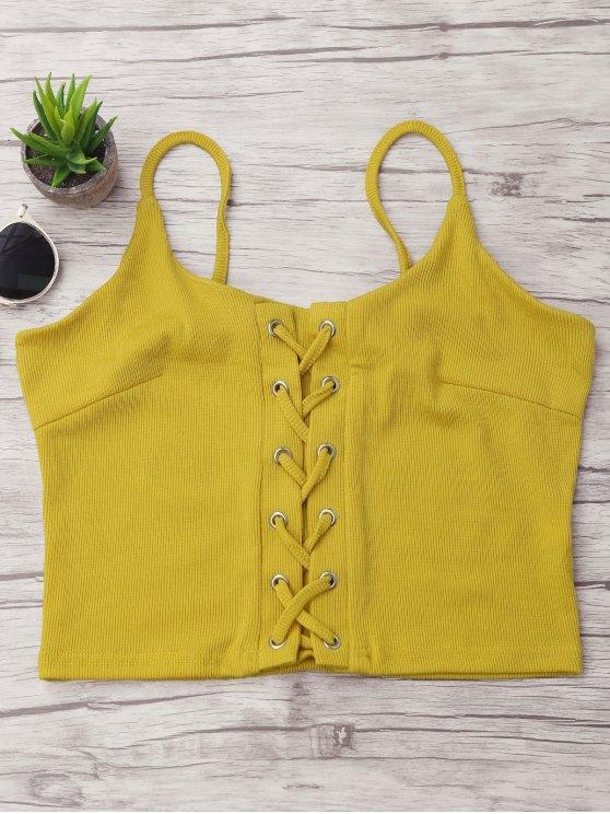 Camadas de renda com nervuras - Amarelo XL