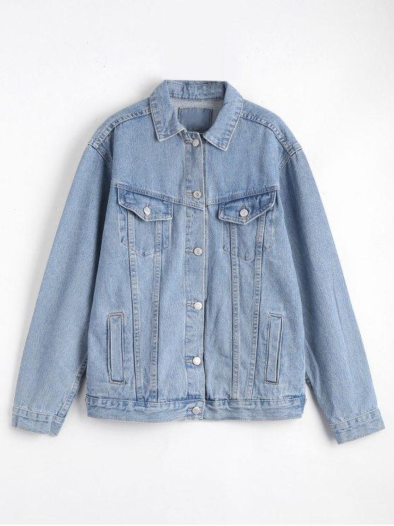 Button Up Denim Jacket With Pockets - Denim Blue S