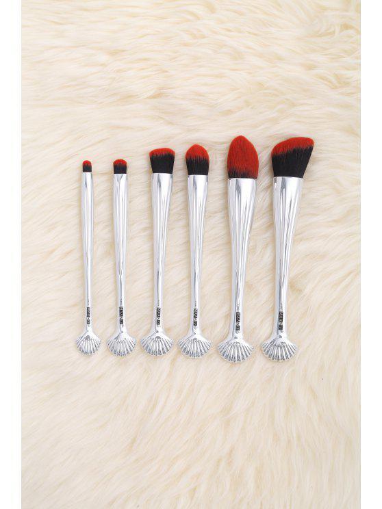 Cepillos de maquillaje faciales de múltiples funciones de Shell de la galjanoplastia 6Pcs - Rojo Negro