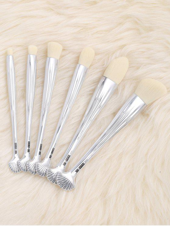 6Pcs Multipurpose Plating Shell Facial Makeup Brushes - Branco