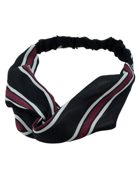 shops Striped Elastic Hair Band - BLACK