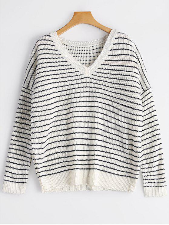 hot V Neck Drop Shoulder Striped Sweater - WHITE ONE SIZE