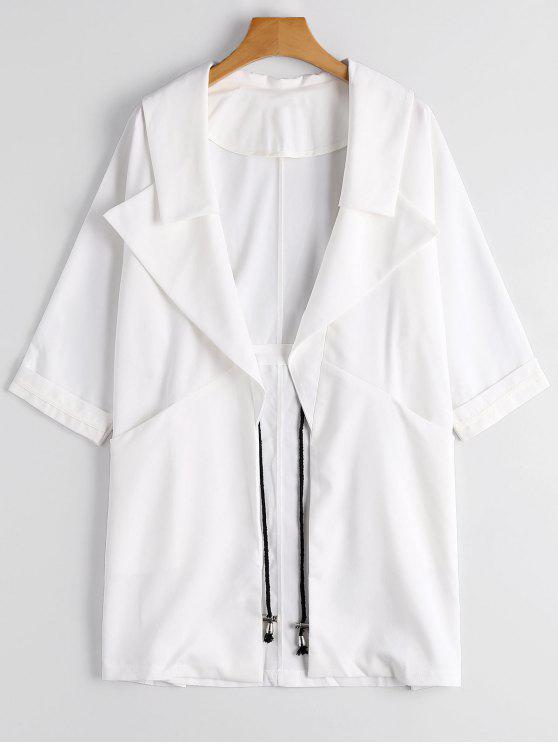 Cappotto Da Vento Di Bavero Con Apertura Sul Davanti - Bianca XL