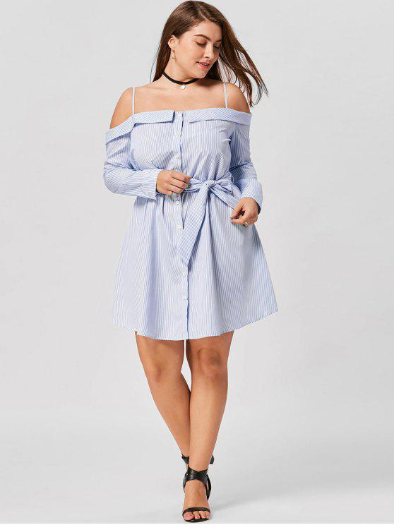 lady Plus Size Button Up Long Sleeve Dress - BLUE STRIPE XL