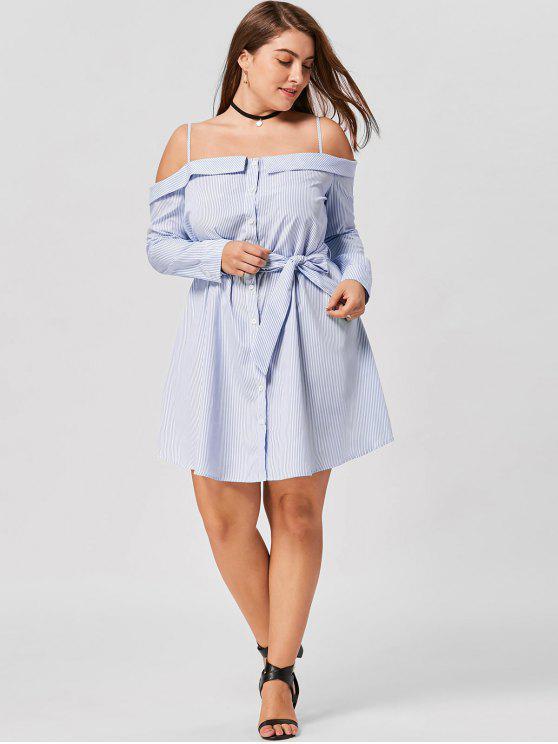 hot Plus Size Button Up Long Sleeve Dress - BLUE STRIPE 4XL
