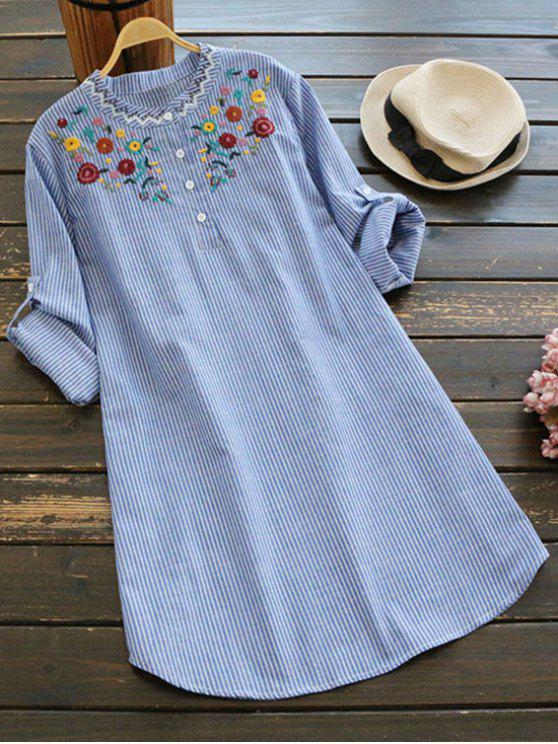 2019 Floral Embroidered Patch Striped Long Blouse In Blue Stripe One