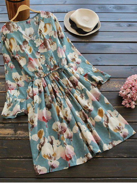 outfits Floral Print Button Embellished Drawstring Dress - FLORAL ONE SIZE
