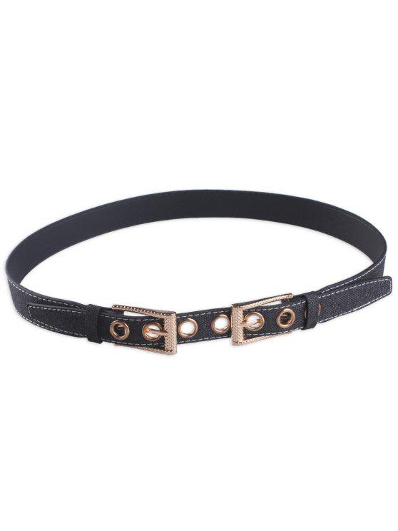 Cinturón de Cintura con Hebilla Doble Pin - Negro