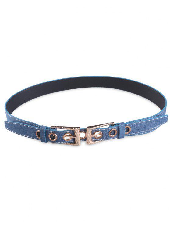affordable Double Pin Buckle Waist Belt - DENIM BLUE