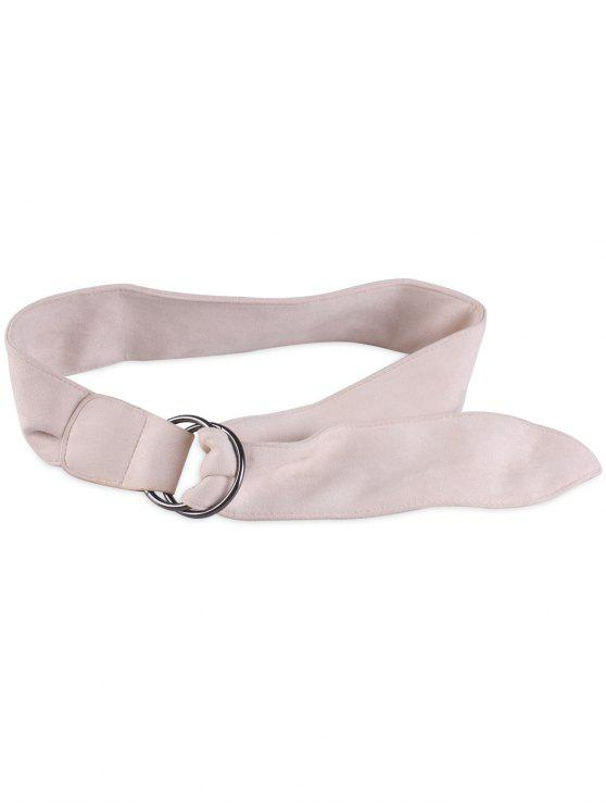 lady Faux Suede Metal Double Round Buckle Belt - WHITE