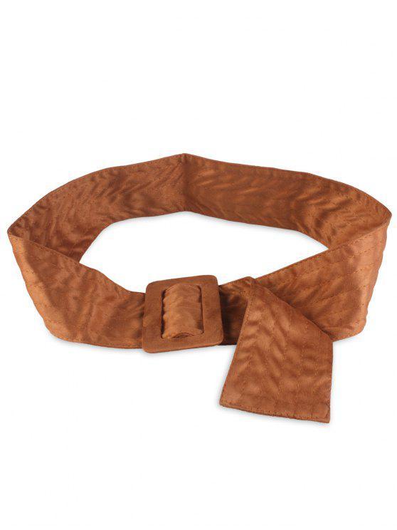 Faux Suede Rectangle Buckle Wide Waist Belt - BRUN