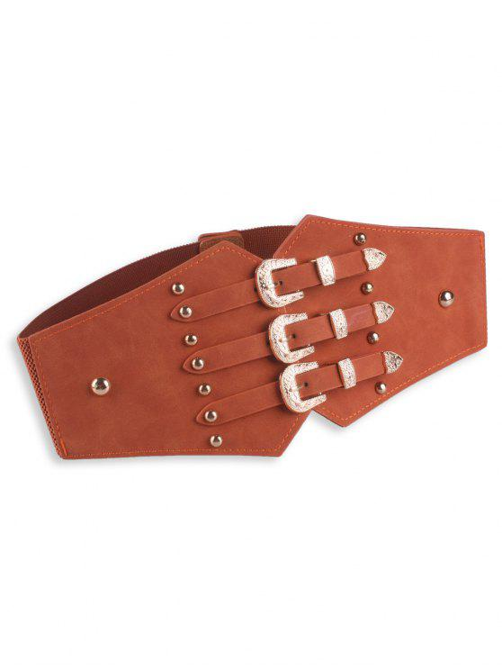 shop Metal Retro Buckles Rivet Wide Corset Belt - BROWN