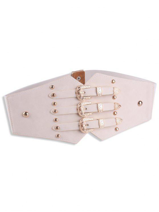 fashion Metal Retro Buckles Rivet Wide Corset Belt - OFF-WHITE