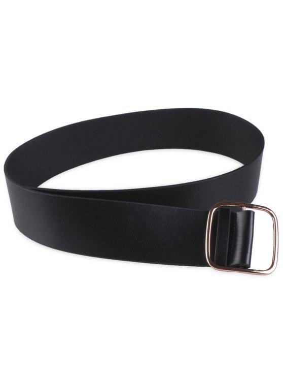 fancy Wide Faux Leather Rectangle Buckle Coat Belt - BLACK