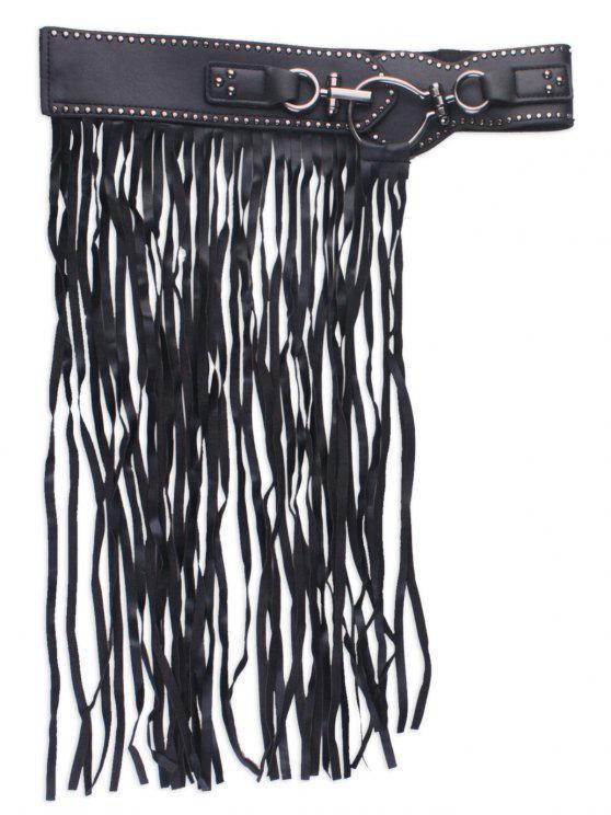 Ceinture en corset à bandoulière en faux cuir - Noir