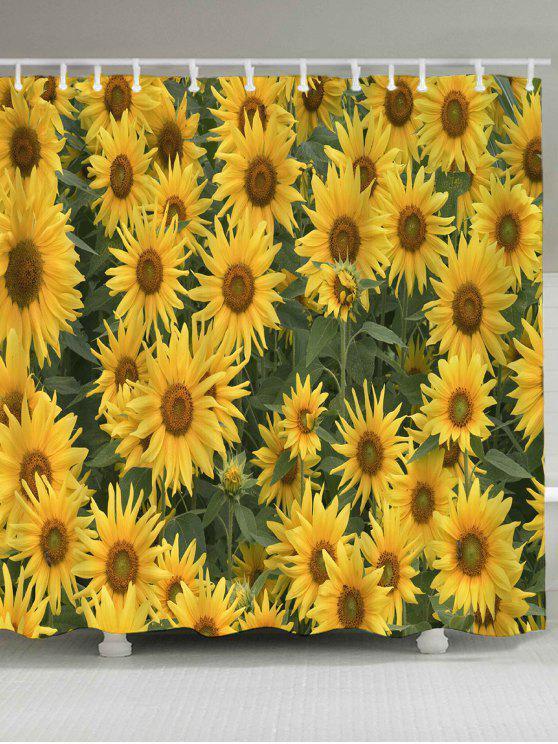 تزهر عباد الشمس المطبوعة ماء دش الستار - الأصفر W71 بوصة * L71 بوصة