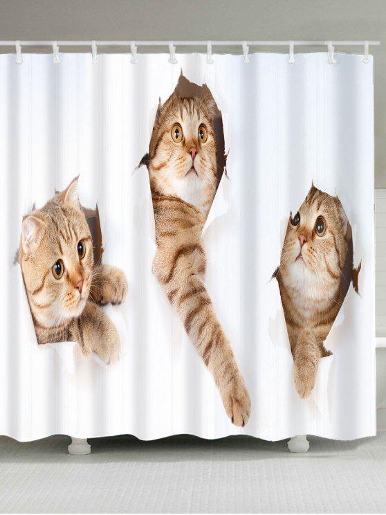 لطيف القطط نمط ماء دش الستار - الأبيض والبني W59 بوصة * L71 بوصة