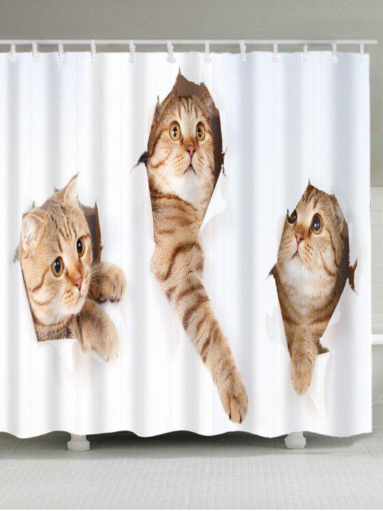 لطيف القطط نمط ماء دش الستار - الأبيض والبني W79 بوصة * L71 بوصة