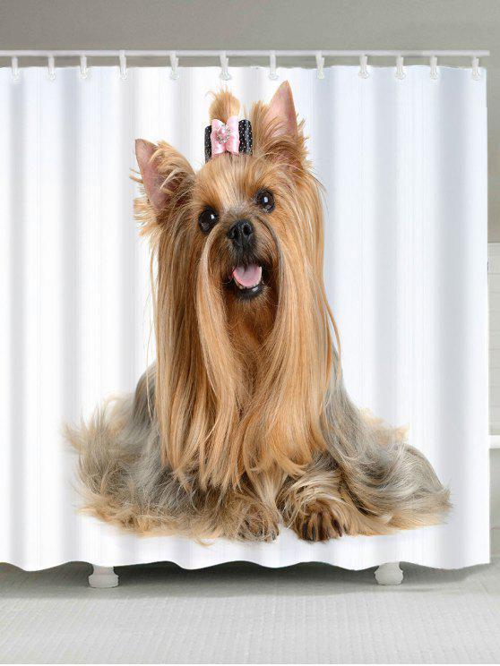 لطيف الكلب نمط دش الحمام الستار - البني الفاتح W71 بوصة * L71 بوصة