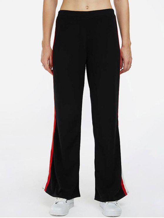 women's Side Stripe Sports Pants - BLACK L