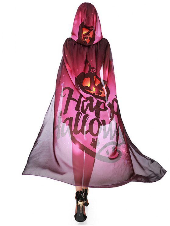 Chifon Halloween Witch Element Festival Hooded Cape - Vermelho Púrpura